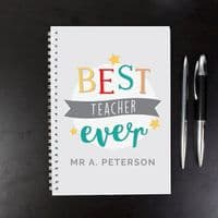 Personalised'Best Teacher Ever' A5 Notebook - This funky owl diary is the perfect gift for a special teacher or graduation. And you can choose any start month too!